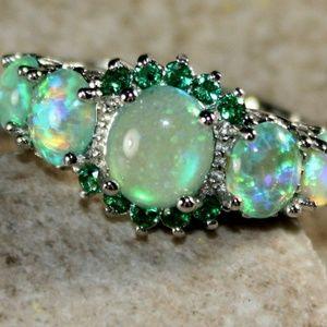 Jewelry - Green Fire Opal Silver Ring
